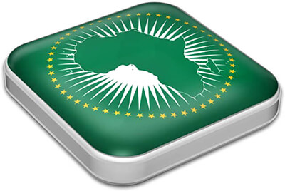 Flag of African Union with metallic square frame