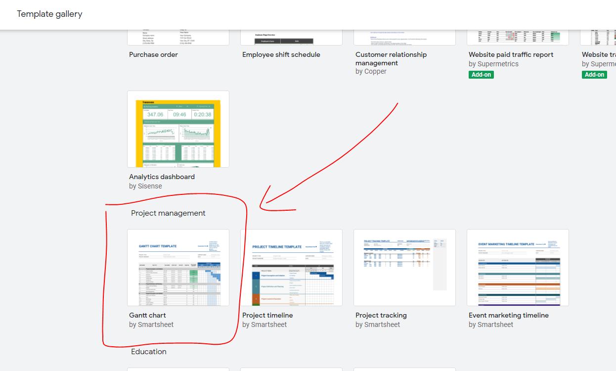 template Gantt Chart di Google Sheet