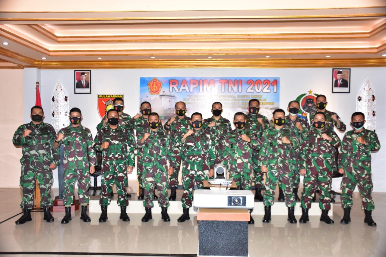 Korem 091/ASN Gelar Vicon bersama Panglima TNI Bahas Evaluasi Penanganan Covid-19