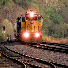 Spring Evening by Rick Covert - Transportation Trains ( spring, springtime, railroad, locomotive, arkansas, railroad tracks, arkansas photographer, evening, trains,  )