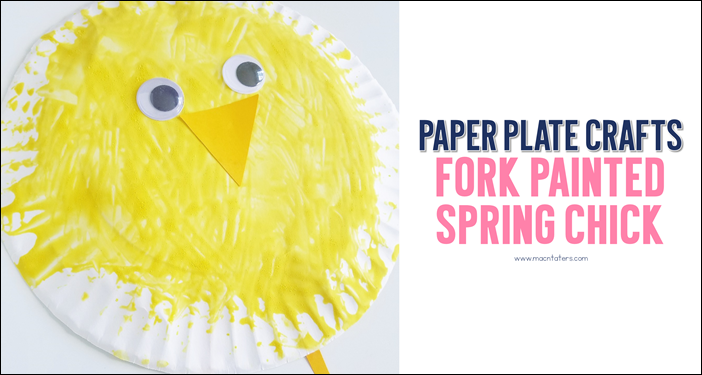 Paper Plate Fork Painted Chick Craft