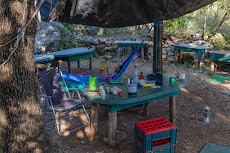 Relaxing at the hippy camp site.