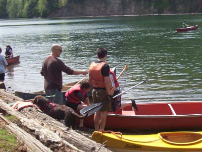 Learning to get in a canoe
