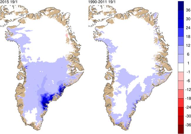 La capa de hielo de Groenlandia se recupera de forma importante en 2015