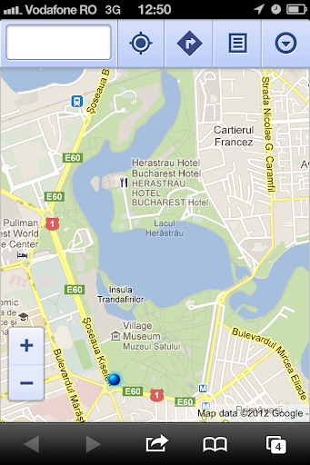 iOS 6 Google Maps shows the lake in Herastrau park