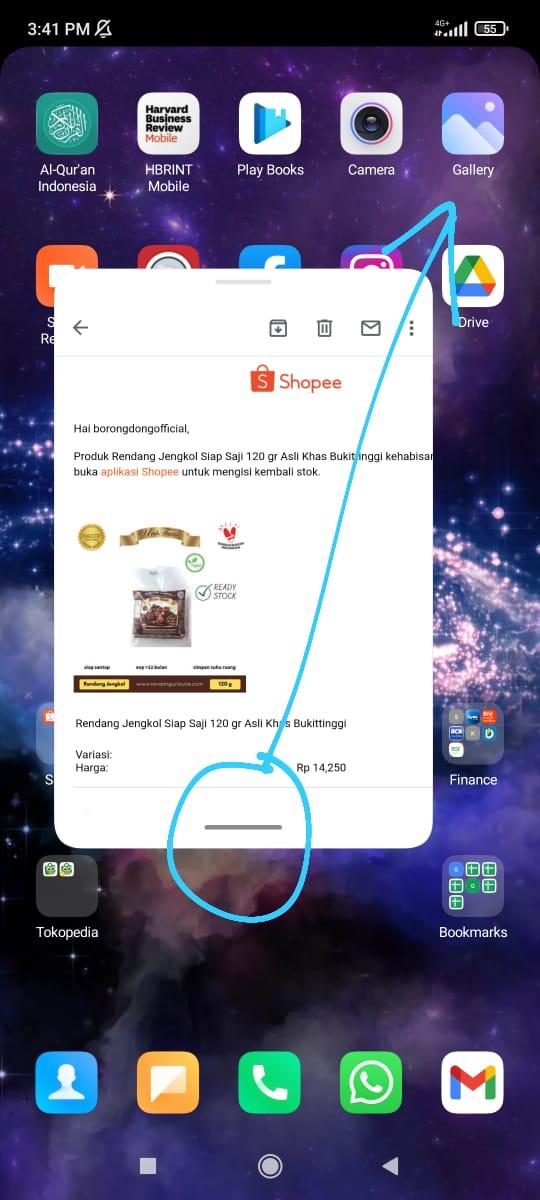cara menyematkan floating windows Xiaomi