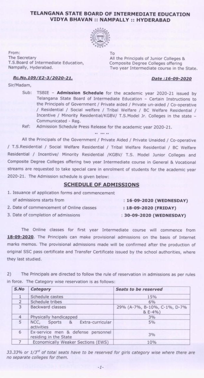 Admission schedule for the academic year 2020-21into Intermediate
