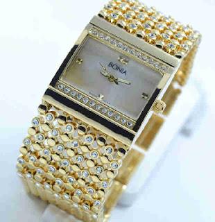 jam tangan Bonia biji lada full gold