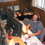 Jason KJ4EOO (background) on 40m SSB and Terry W8ZN (foreground) on 20m SSB