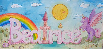 Watercolour: Girl Name Beatrice, Princess Castle theme by Elizabeth Casua, tHE 33ZTH oRDER artwork. Nursery paintings