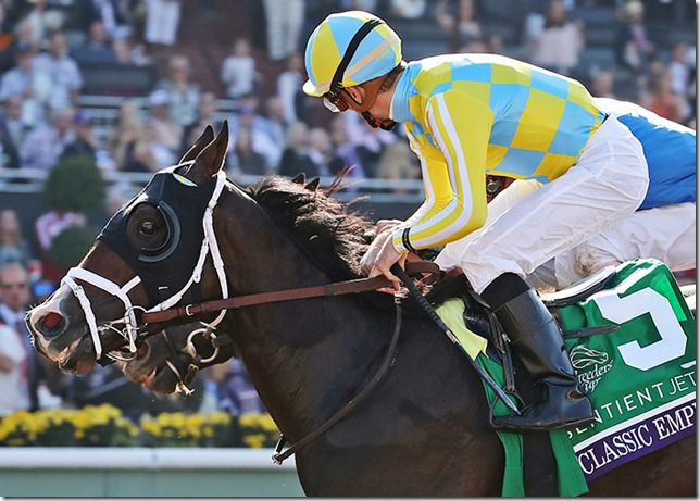 Classic Empire (inside),  udner Julien Leparoux, holds off Not This Time (10), under Robby Albarado, to win the Breeders' Cup Juvenile at Santa Anita Park on Nov. 5, 2016.
