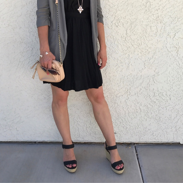 Thrifty Wife, Happy Life- Blush accessories with black strapy wedge sandals