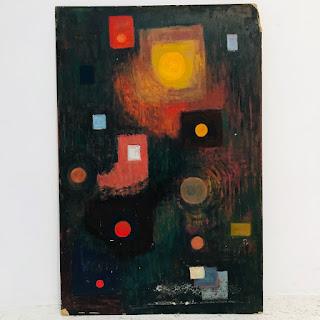 Martin Rosenthal Signed Modernist Abstract Oil, Dark Field