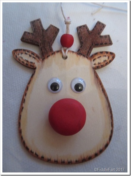 wooden Rudolph tag with fimo nose.