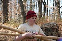 Getting the sticks for the bridge building fun