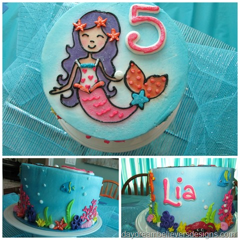 Little Girls Mermaid Birthday Cake Under The Sea