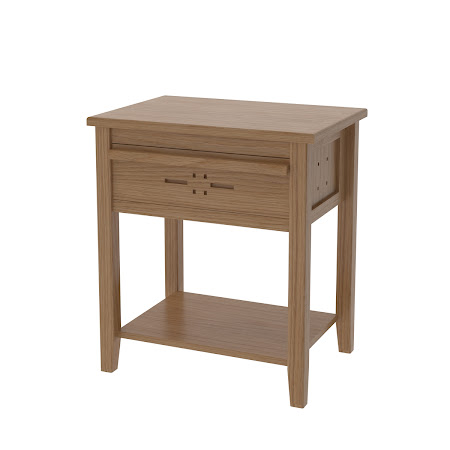 Florence Nightstand with Shelf, Natural Oak
