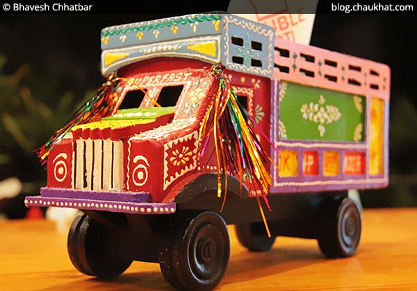 Toy Truck for tissue papers and cutlery at Double Roti, Viman Nagar, Pune