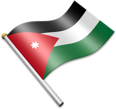 The Jordanian flag on a flagpole clipart image