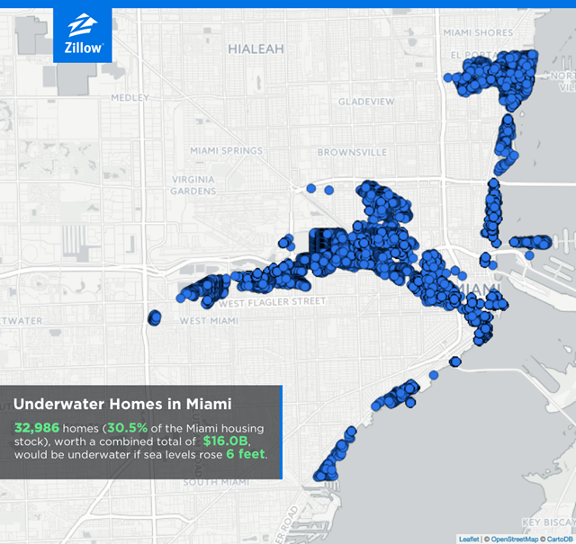 Homes in danger of inundation by rising sea level in Miami, Florida, in the year 2100. 32,986 homes (30 percent of the Miami housing stock), worth $16 billion, will be underwater if sea level rises by six feet. Graphic: Zillow