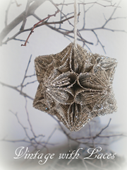 Book Page Ornament Origami Kusudama Christmas Ball by Vintage with Laces
