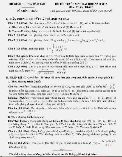 đề thi đại học môn toán khối d năm 2013