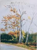buki przy ulicy Jachtowej, olej, płótno, 50 x 70 cm