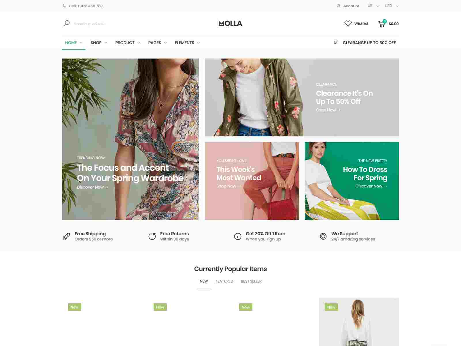 Magento clothing theme Molla