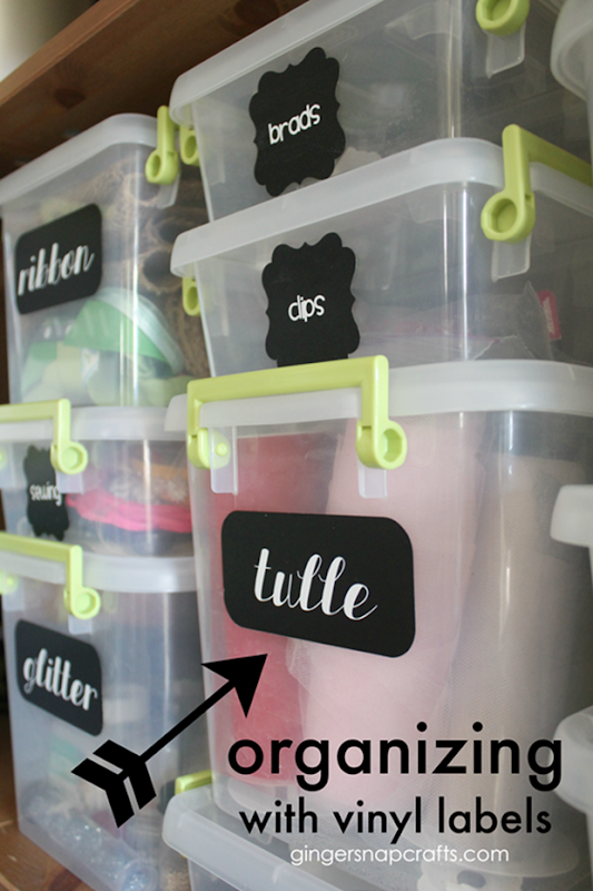 Organizing with Vinyl Labels at GingerSnapCrafts.com #organizing_thumb