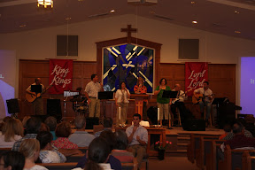 The Praise Team leads us in worship