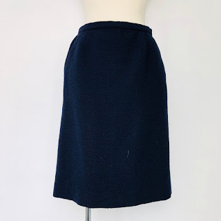 Chanel Créations Navy Blue Boucle Skirt