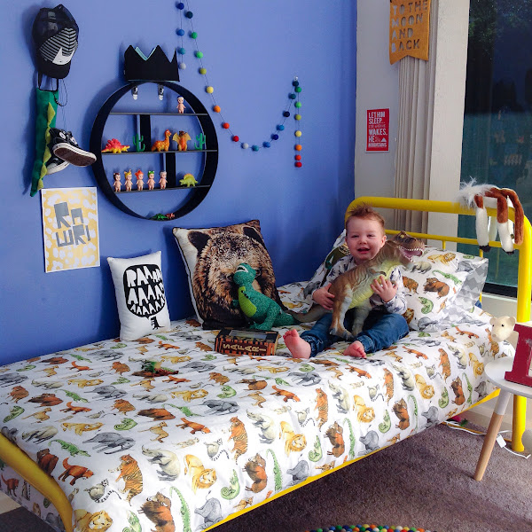 Boys Animal Theme Room Decor Interior Dinosaur Roar Rawr Print Tall Blank Wall Freddy Alphabet Cushion Little Rosie and Me Felt Ball Garland Essi and Co Crown Ladedah Kids Crochet Dinosaur Adairs Bedding Harvey Norman Bed Target Circle Shelving