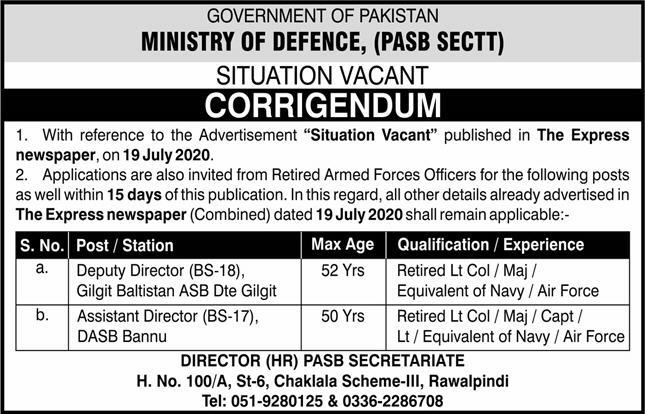 Ministry Of Defence Jobs October 2020