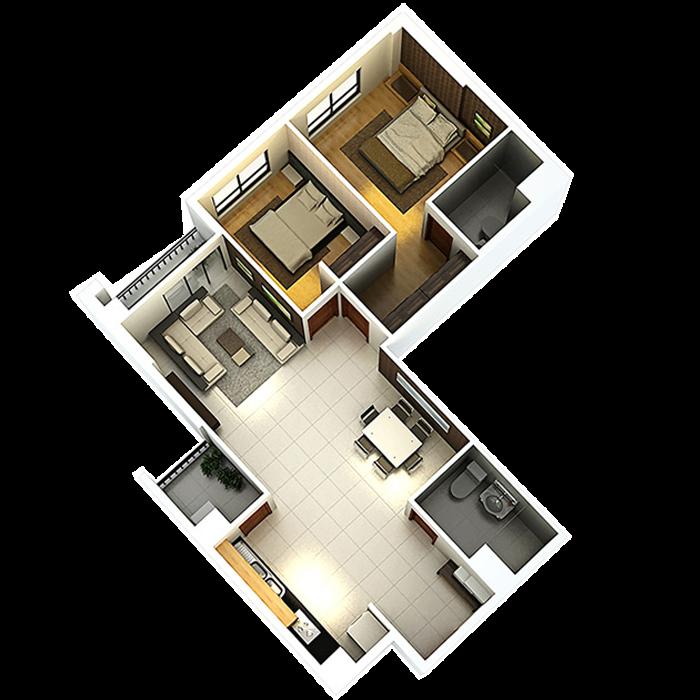 căn hộ 87.77m² - 2 Phòng ngủ