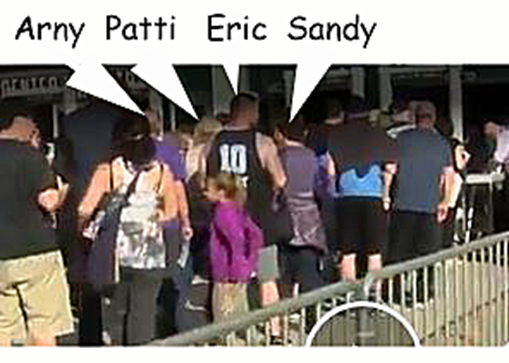 From KCRA video, Arny, Patti, Eric and Sandy in line to get into Kings Game