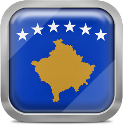 Kosovo square flag with metallic frame