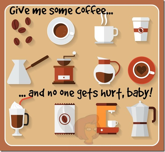 "Banner de topo de postagem contendo desenhos de ícones de Coffee Shop, com a frase ""Give me some coffee and no one gets hurt, baby!"""
