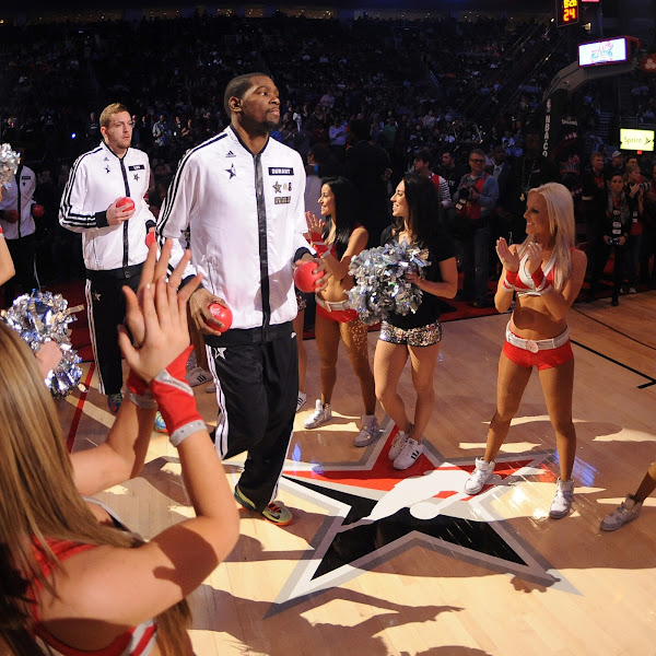 Kevin Durant #35 of the Western Conference All-Stars is introduced during the 2013 NBA All-Star Game presented by Kia on February 17, 2013 at the Toyota Center in Houston, Texas.