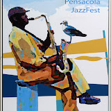 Every year, the Jazz Society offers artists the opportunity to design a poster for the upcoming Pensacola JazzFest.  The winning entry receives a $600 prize.  For more information, look under JazzFest FAQ's, or call the Jazz Society office.  Deadline for the 2010 JazzFest entries: Dec. 4, 2009.  Here are the winning designs from the last 4 JazzFests.  Other designs can be viewed in the JSOP office.