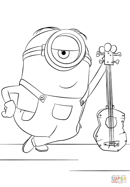 Click The Minion Stuart With Guitar Coloring Pages To View Printable  Version Or Color It Online Patible With Ipad And Android Tablets