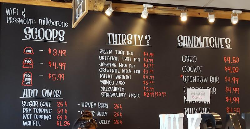 photo of the menu at Milk Bar