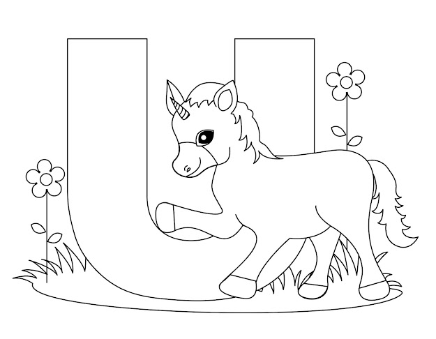 Unicorn Cute Alphabet Coloring Pages Free