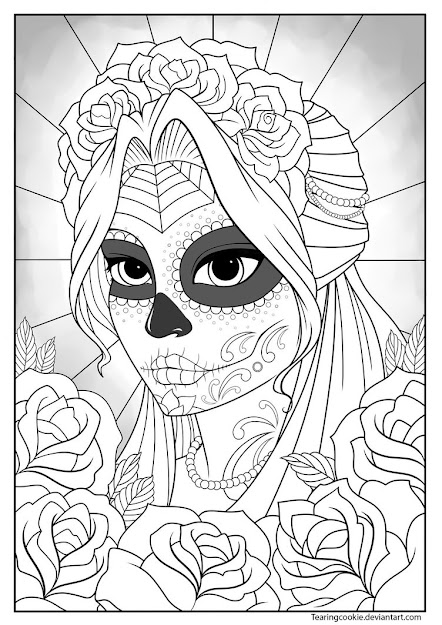 Sugar Skull Girl Colouring Page By Tearingcookie On Deviantart  Day Of  The Dead