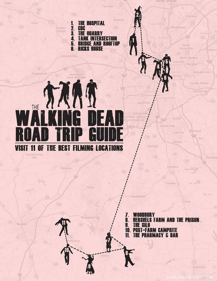Walking Dead Road Trip Guide (Self-Guided Tour of 11 Walking Dead Locations in Atlanta).