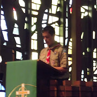 Matthew giving Scout Sunday Speech