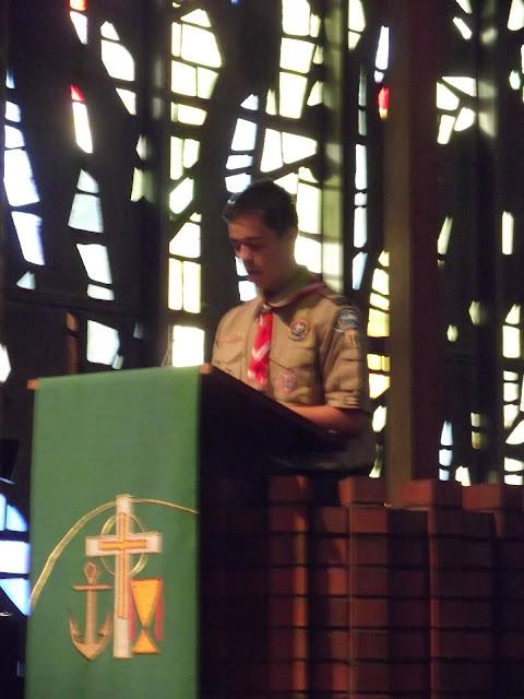 Matthew giving Scout Sunday Speech