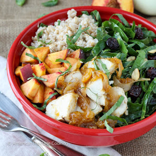 Collard Green Salad with Vidalia Onion and Peach Glazed Chicken {aka The Peach State Salad}