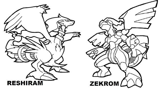 Zekrom Vs Reshiram Legendary Pokemon Coloring Pages