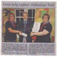 May 2, 2008  Donation of £500 to 4th Bradford on Avon Guides project to help Gambian Orphanage