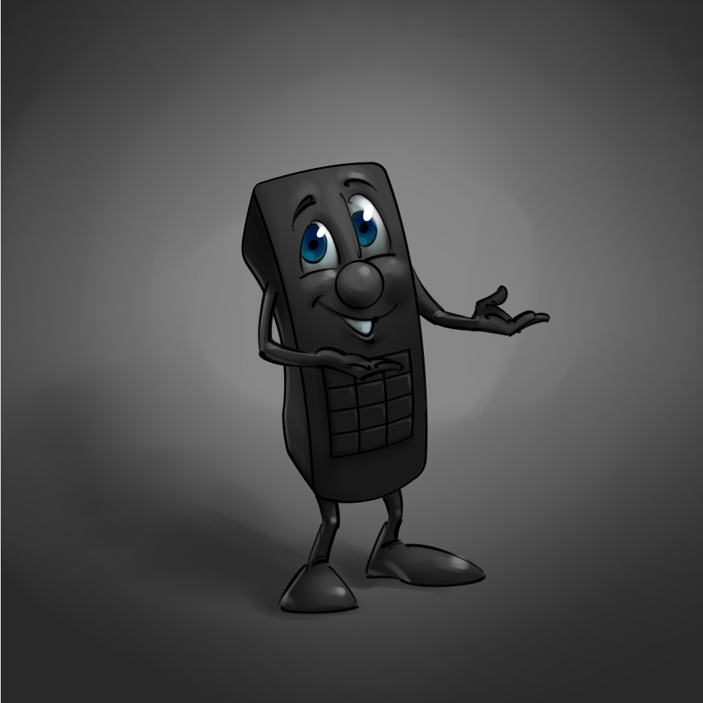 Funny cartoon illustration Anthro remote mascot concept